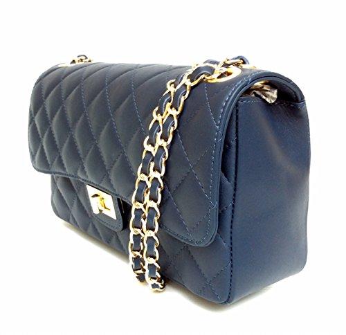 SUPERFLYBAGS Borsa in vera pelle trapuntata modello Parigi Classic Made in Italy blu scuro