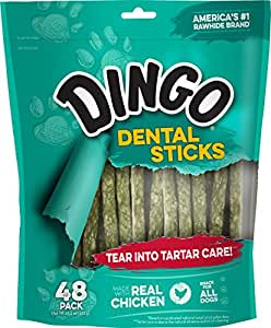 Dingo Tartar and Breath Dental Sticks for All Dogs, 48-Count