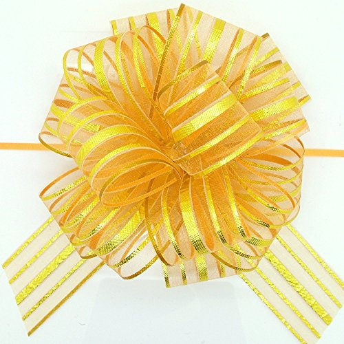 FQTANJU Pull Bow, Large, Organza, 6 Inches, Gold, 5pcs ()