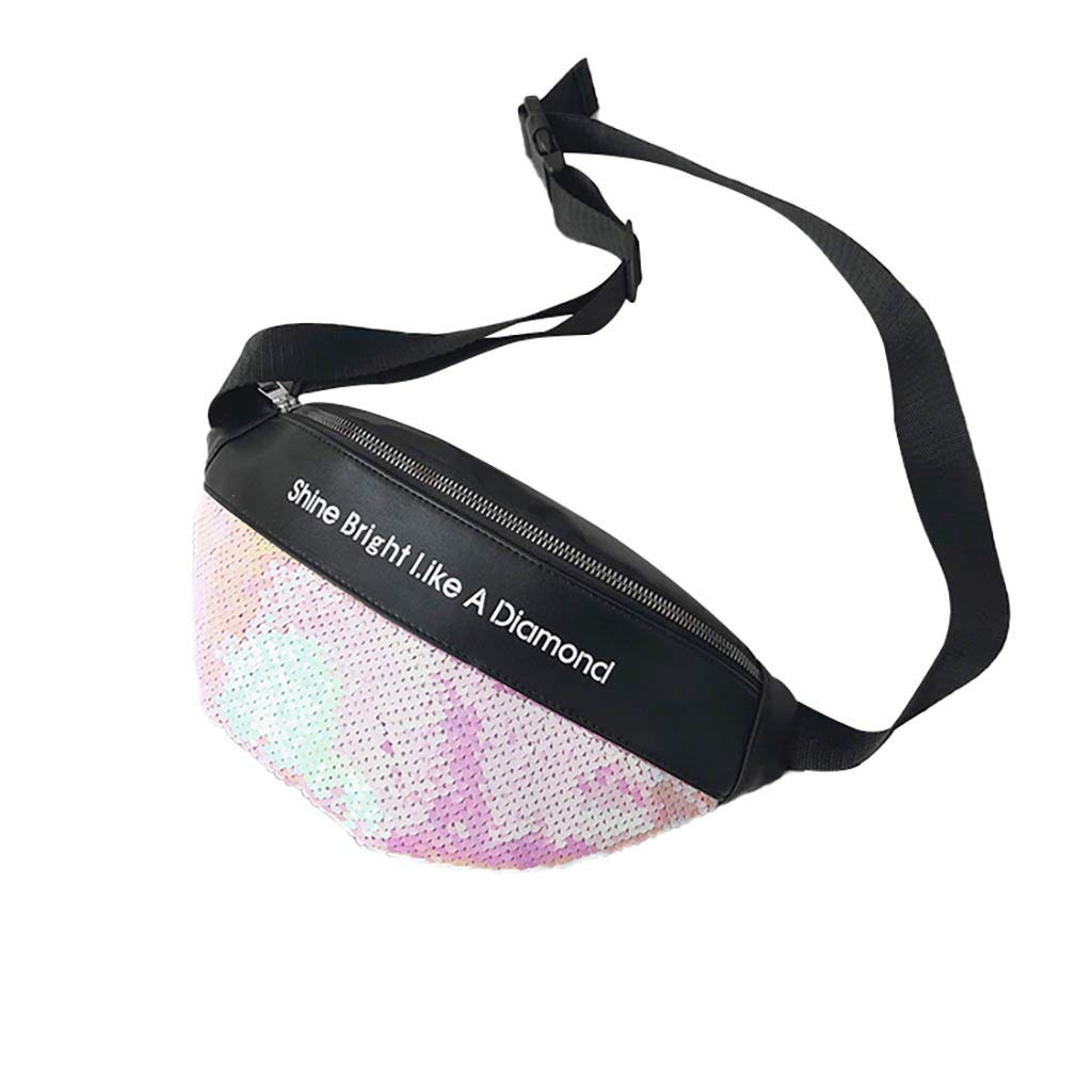 small, Pink Unisex Sequins Leather Waist Pack Bag Adagod Shoulder Chest Fanny Packs Bags Purse