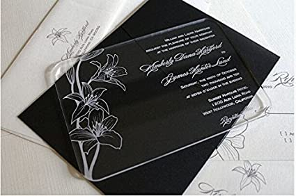 Amazoncom BESTLIFE Acrylic Clear Wedding Invitation Card with