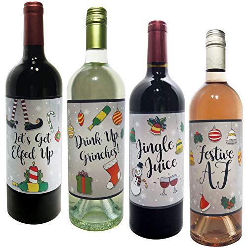 Silver - Holiday and Christmas Wine Bottle Labels - Set of 4