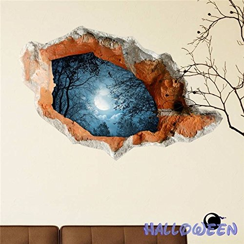 PAG STICKER 3D Wall Decals Halloween Wall Hole Sticker Home Party Wall Decor (Gifs De Happy Halloween)