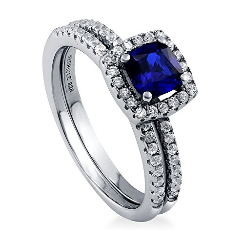 BERRICLE Rhodium Plated Sterling Silver Simulated Blue Sapphire Cushion Cut Cubic Zirconia CZ Halo Engagement Wedding Ring Set 0.89 CTW Size 8