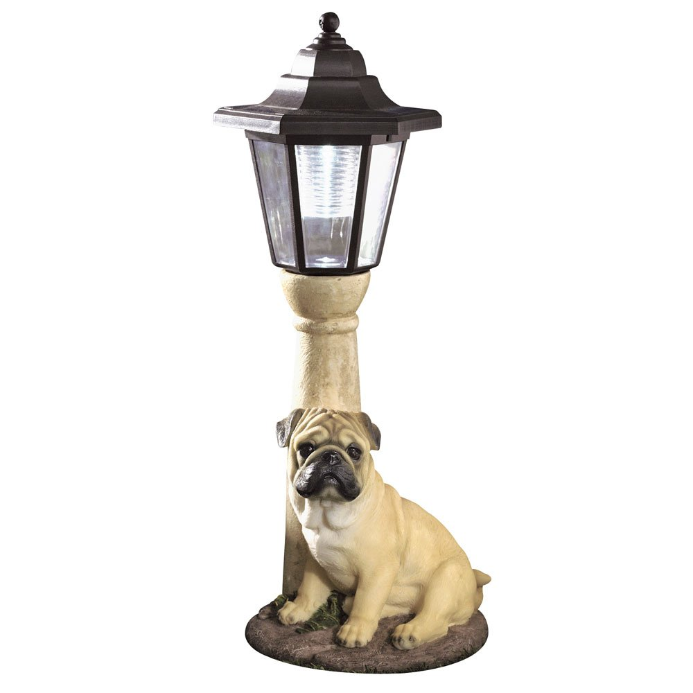 Bits and Pieces-Solar Light Fawn Pug-Solar Powered Garden Lantern - Resin Dog Sculpture With LED Light