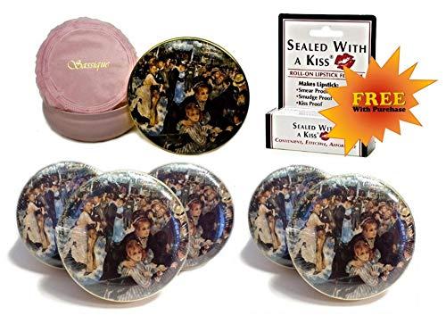 Bal de Bain Perfumed Dusting Powder in Keepsake Tin - 6 Units - PLUS FREE Sealed With a Kiss Lipstick Fixative BONUS!