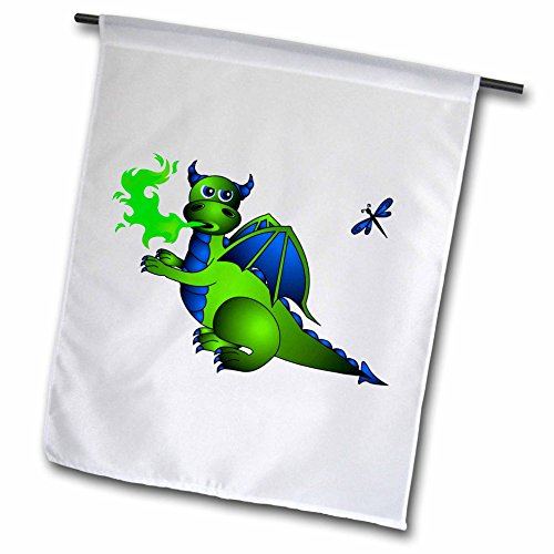 3dRose fl_24665_1 Green and Blue Fire Breathing Dragon and Dragonfly Garden Flag, 12 by 18-Inch