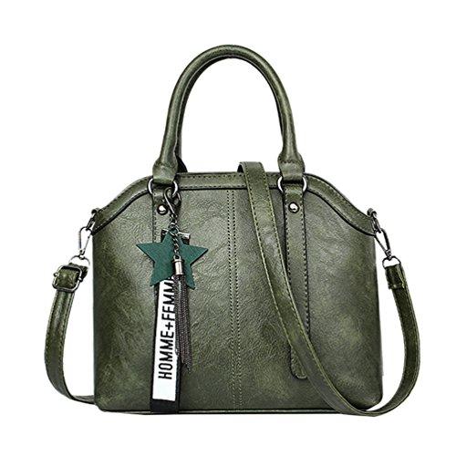 Baymate Mujeres Vintage Bolso Casual Bolso de Hombro PU Piel Crossbody Bolsa Verde