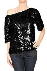 Short Sleeve One Shoulder Sequin Top