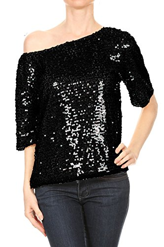 Anna-Kaci Womens Short Sleeve One Shoulder Sexy Sequin Top Blouse, Black, X-Large ()