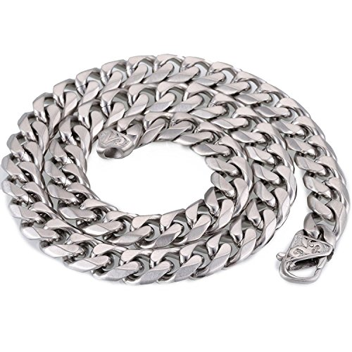Trendsmax 14.5mm Heavy Frosted Matte Cut Curb Cuban Link Mens Chain 316L Stainless Steel Necklace - Chain Stainless Cuban Steel Link