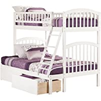 Richland Bunk Bed with 2 Urban Bed Drawers, Twin Over Full, White