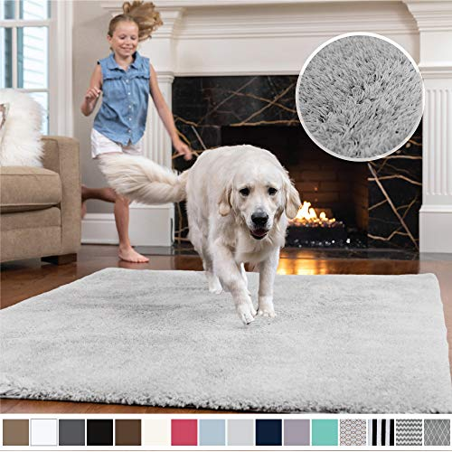 GORILLA GRIP Original Faux-Chinchilla Area Rug, 5x7 Feet, Super Soft and Cozy High Pile Washable Carpet, Modern Rugs for Floor, Luxury Shaggy Carpets for Home, Nursery, Bed and Living Room, Light Gray (Rugs 5x7)