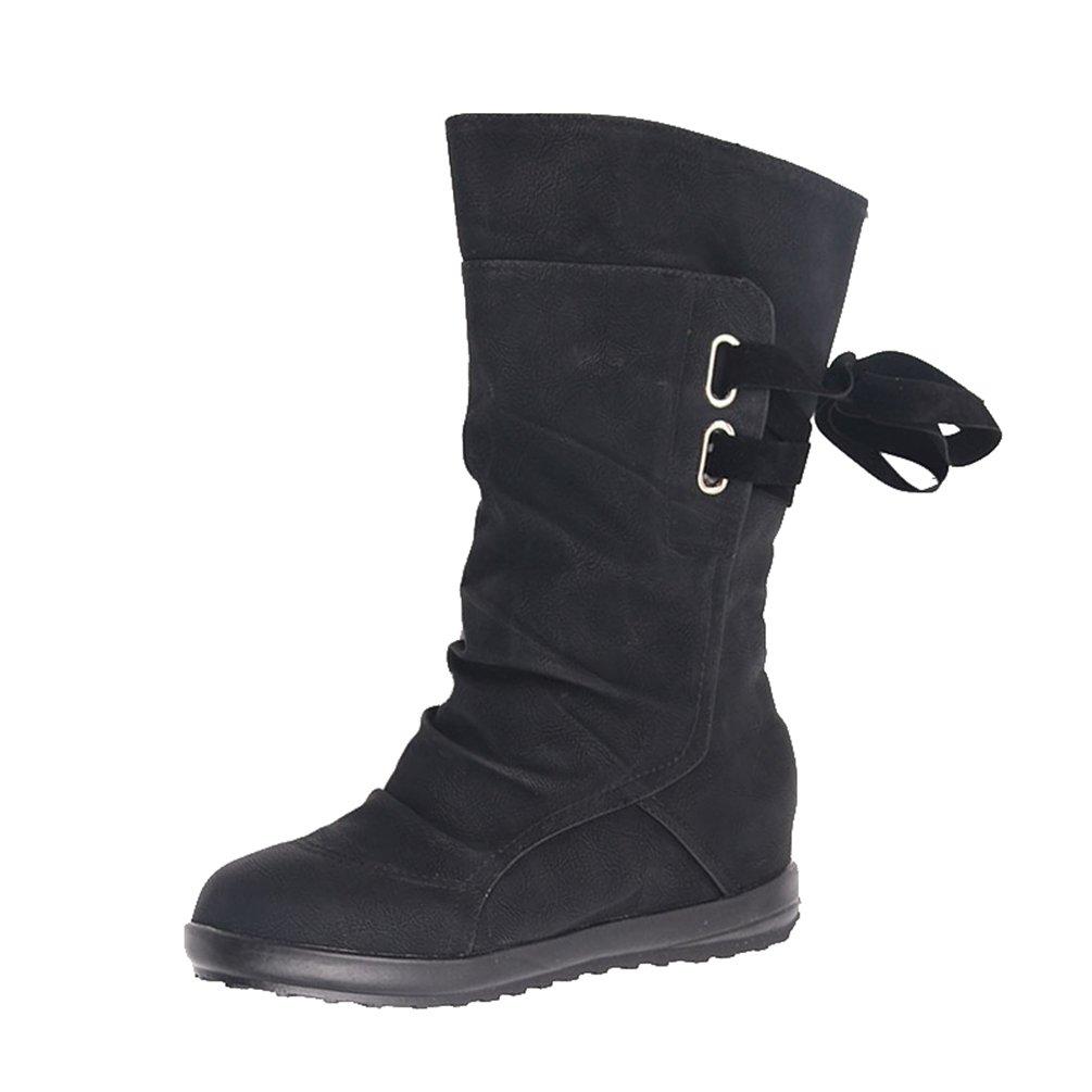 ZKOO Mujer Botas Largas Planas Botas de Nieve Medias Botas Zapatos con Forro Cálido Otoño e Invierno Negro: Amazon.es: Zapatos y complementos