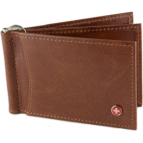 Alpine Swiss RFID Blocking Mens Leather Deluxe Spring Money Clip Wallet Brown