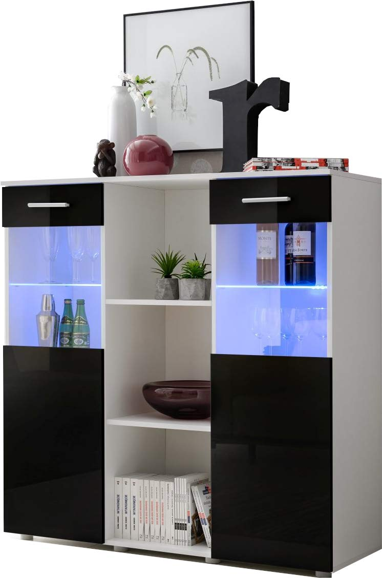 Front in Black High Gloss multicolour LEDs with remote Sideboard Cabinet High Gloss Fronts Cupboard Storage Display Unit Mirror 3   BB