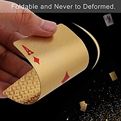 Waterproof Deck of Cards, 52+2 Playing Cards, 24k Gold Foil Plastic Poker Cards Standard Size - Luxury Magic Tricks Tools for Party and Table Game (1 Golden): Toys & Games
