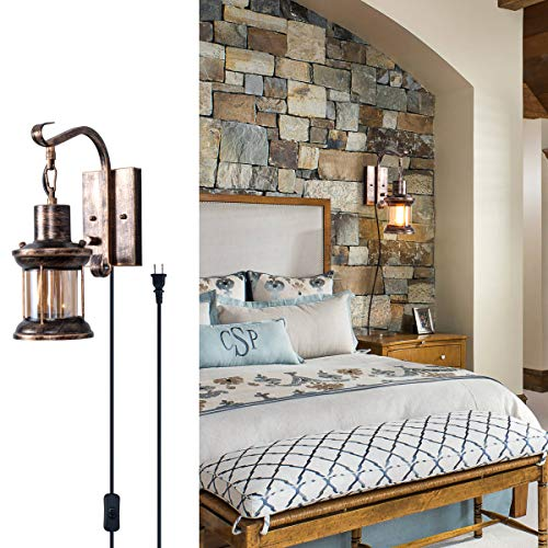 (Rustic Wall Light, 2-in-1 Oil Rubbed Bronze Vintage Wall Light Fixture Hardwired Plug in Industrial Glass Shade Lantern Lighting Retro Lamp Metal Wall Sconce for Home Bedroom Dining Room café(1)