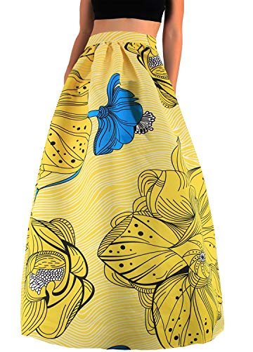 Hoohu Womens Bohemian African Floral Print High Waist Pleated Hem Full/Ankle Length Long Maxi Swing Skirt Dress ()