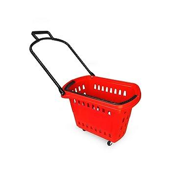 Yonhoo Cesta de Compra para Supemercado 48L (4 Ruedas + 2 Asas) (40 litros, Rojo): Amazon.es: Hogar