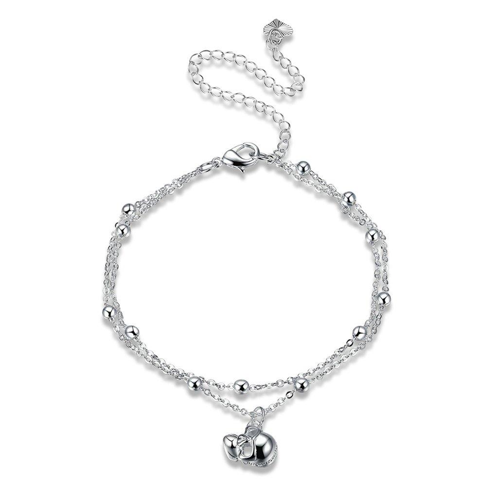 Beydodo Silver Plated Anklet Bracelet for Women Skull Pendant Silver 20+10CM Girls Beach Foot Jewelry