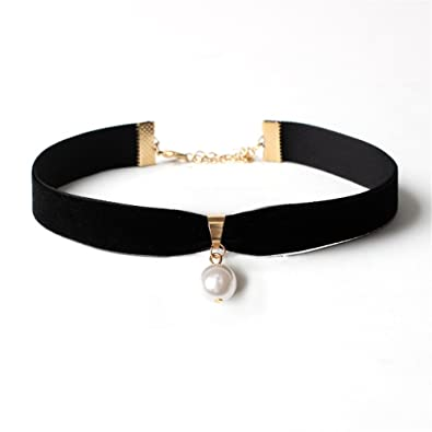 20c01bb4d34dd TIDOO Jewelry Classic Black Velvet Pearl Choker Necklace