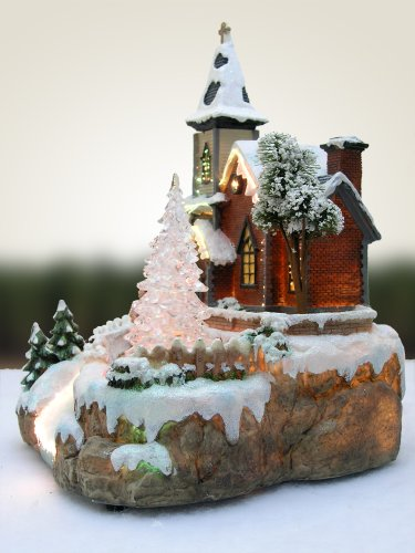 Christmas Snow Village Fiber Optic Church Chapel Winter Collectible by Banberry Designs (Image #2)