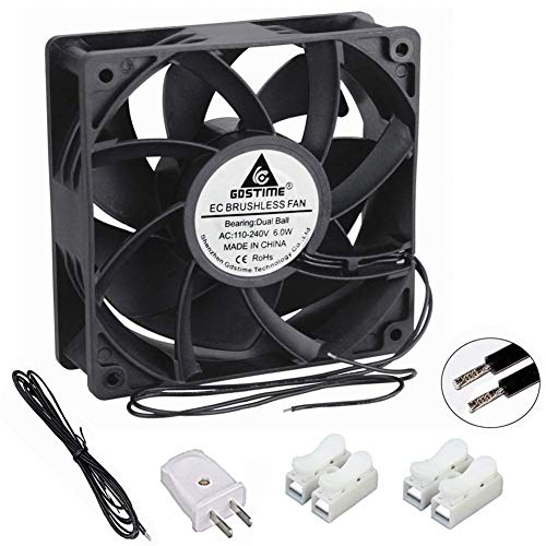 GDSTIME EC Cooling Fan, 120mm Fan, 120mm 38mm AC 110V 115V 120V 220V 240V, Dual Ball Bearing ()