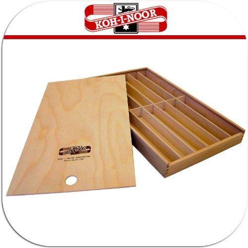Koh-I-Noor - Scatola in legno, misura grande, per riporre matite, pennelli, portamine, scatola portapenne, ecc...