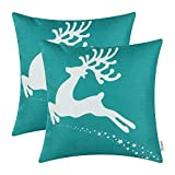 Pack of 2 CaliTime Soft Canvas Throw Pillow Covers Cases for Couch Sofa Home Decor, Christmas Holiday Reindeer Print, 18 X 18 Inches, Teal