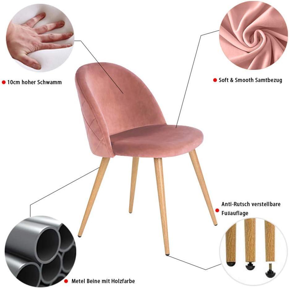 CLIPOP Juego de 2 sillas de Comedor tapizadas de Terciopelo con Respaldo y Patas de Metal para sillas de Comedor, salón y Dormitorio, Tela de Terciopelo, Rosa Rosa