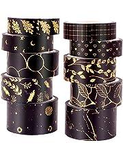 ASTU Black Washi Tape Set - 15 mm Wide Vintage Floral Washi Masking Tape Assortment Black and Gold Foiled for Bullet Journal, Scrapbooking, DIY Crafts, Gift Wrapping (Black Gold Foiled Floral) (Black Gold Space)