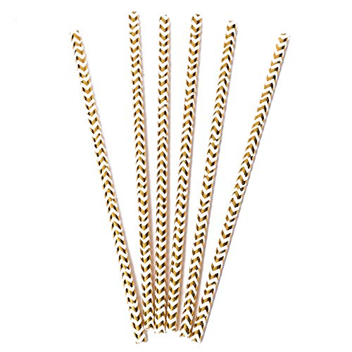 200 Pack Vintage 6.6 Inch Holiday White Gold Foil Paper Drinking Straws Striped Bulk Party Supplies Kids Adult Accessories Biodegradable Birthdays Parties Eco Friendly Christmas New -