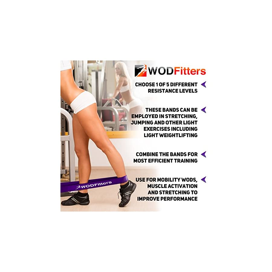 WODFitters Pull Up Assistance Bands Stretch Resistance Band Mobility Band Powerlifting Bands, Durable Workout/Exercise Pull Up Assist Bands SINGLE BAND or SET