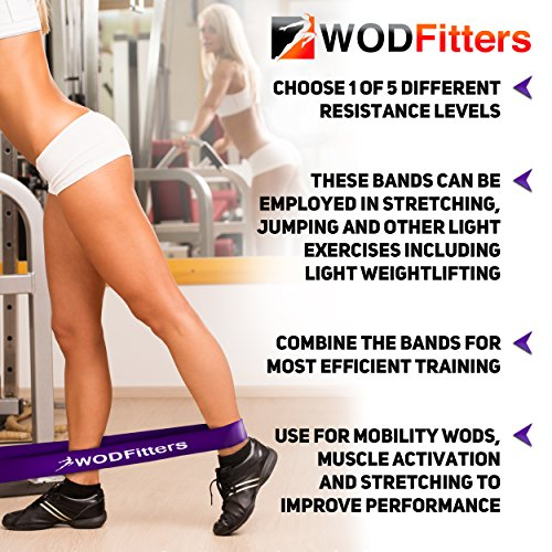 WODFitters Pull Up Assistance Bands Stretch Resistance Band Mobility Band Powerlifting Bands Extra Durable Top Rated Elastic Workout/Exercise Pull Up Assist Bands SINGLE BAND or SET