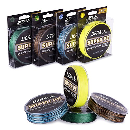 DERALA Braided Fishing Line -10lb - 60lb Superline Abrasion Resistant Zero Memory Strong- 4 Strands PE Braided Lines