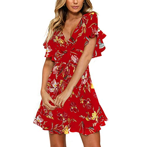 Fashionme Casual Ruffled Sleeve Asymmetric Cross V-Neck Dress Floral Print Short Mini Summer Dress for Women (Red, S)