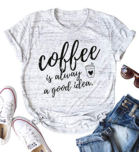 Good Halloween Ideas Last Minute (LOTUCY Coffee is Always A Good Idea Letter Print Shirt for Women Short Sleeve Graphic Tee Shirts Tops with Funny)