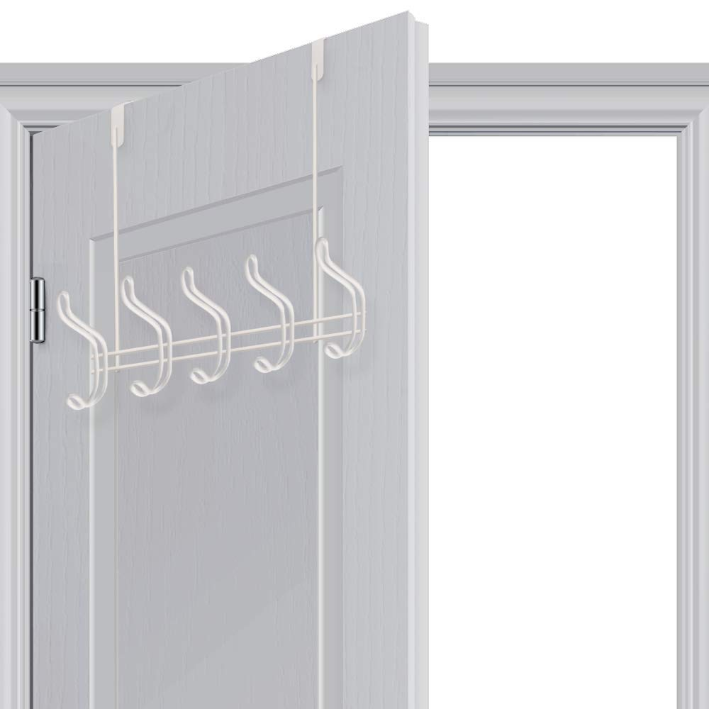 Over Door Hook - 5 Coat Hooks Pegs - No Drill Towel Rack for Bathroom Storage Closet - Behind The Door Organizer Clothes Rack - Shoe Or Hat Holder - Office Cubicle Purse Hanger - Brick White by TAIDOU (Image #7)