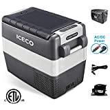 ICECO JP50 Portable Refrigerator Freezer Fridge 12V Cooler, 50 Liters Compact Refrigerator with Secop Compressor, Upgraded Heat Insulation Case and 12 Feet Long Extend DC Power Cable
