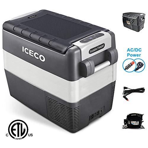 ICECO JP50 Portable Refrigerator Freezer Fridge 12V Cooler, 50 Liters Compact Refrigerator, 0℉~50℉, DC 12/24V, AC 110-240V, for Car, Truck, RV, Van, Outdoor, Camping, Picnic