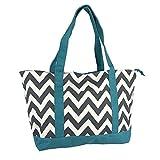 Allgala Extra Large Roomy Premium Canvas Tote Bag With Fashion Prints, Chevron Grey Blue