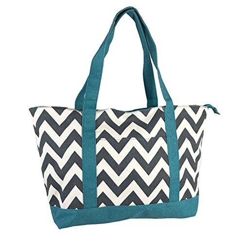 - Allgala Extra Large Roomy Premium Canvas Tote Bag With Fashion Prints, Chevron Grey Blue