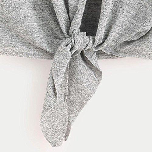 Cross Adeshop Elegante Top Tee Bandage Camicette lunga Chic Collar Camicetta autunno Slim Fashion Grigio Top manica Round Abbigliamento Donna Top Colour Camicetta Casual Pure rqCwYrS