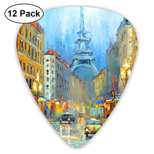 MEILVWEN Paris Night Artistic Signed Print Guitar Picks Gift Set(16 Pack Includes Thin Medium Heavy) for Electric Classic Bass and Acoustic Guitars