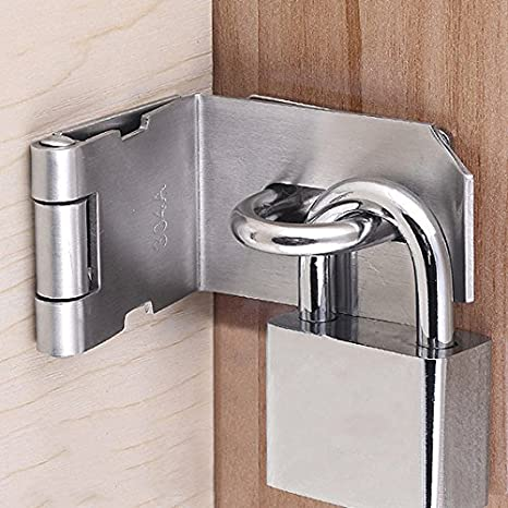 Stainless Steel Matte Black EMS9KB-5 Sayayo 90 Degree Padlock Hasp Door Clasp Door Lock Gate Latch 5 Inches
