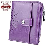 Yaluxe Women's RFID Blocking Security Leather Small Billfold Wallet with Coin Pocket Purple