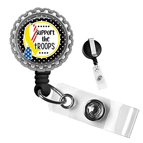 (Polka Dot Support The Troops Ribbon USA Silver Retractable Badge Reel by Geek Badges)