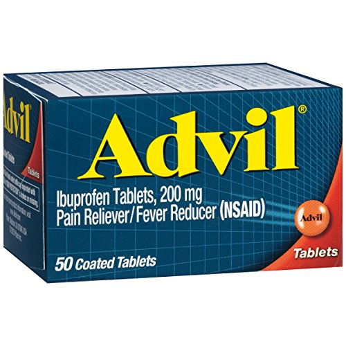 Advil (50 Count) Pain Reliever/Fever Reducer Coated Tablet, 200mg Ibuprofen, Temporary Pain Relief