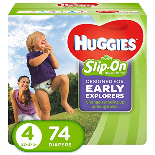 Huggies Little Movers, Slip on Diapers, Size 4, 74 count